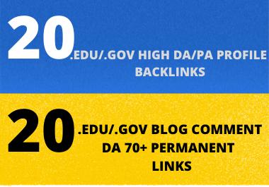 I will create manually High quality Dofollow 20Edu/Gov + 20 Edu blog comments backlinks