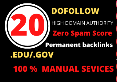 Just 24 hours Delivery 20 Edu/Gov with high authority safe link building SEO backlinks for 1