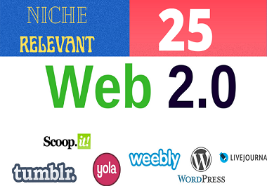 Build Niche Relevant Manually 25 Best Quality Web 2.0 Backlinks.
