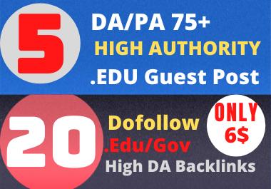 5 High DA Edu Guest Post+ 20 High Authority. Edu/. Gov Backlinks For 6