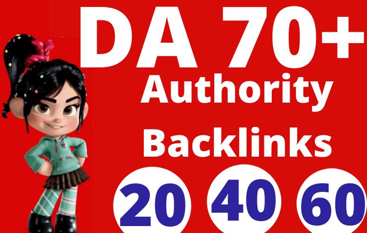 I will create manual backlinks da 70 plus high authority SEO dofollow
