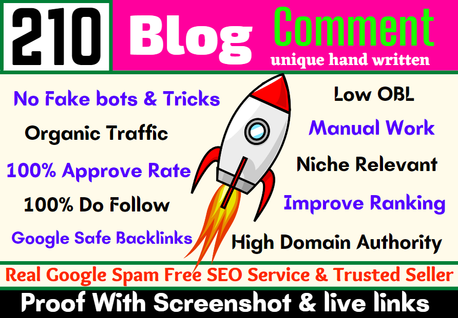 Create Manually Unique Hand Written Niche Relevant High Quality Do Follow Blog Comment Backlinks