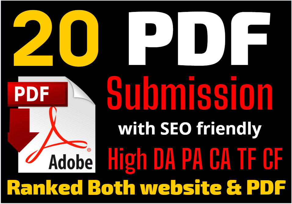 Top 20 high quality PDF or file submission with anchor text backlinks SEO friendly