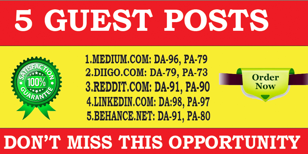 I will Write And Publish 5 Guest Posts on 5 High Actual DA PA