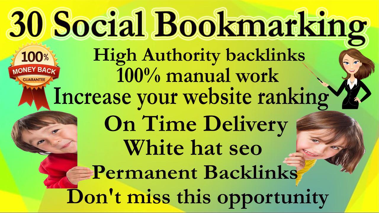 30 Social Bookmarking backlinks Manually high authority