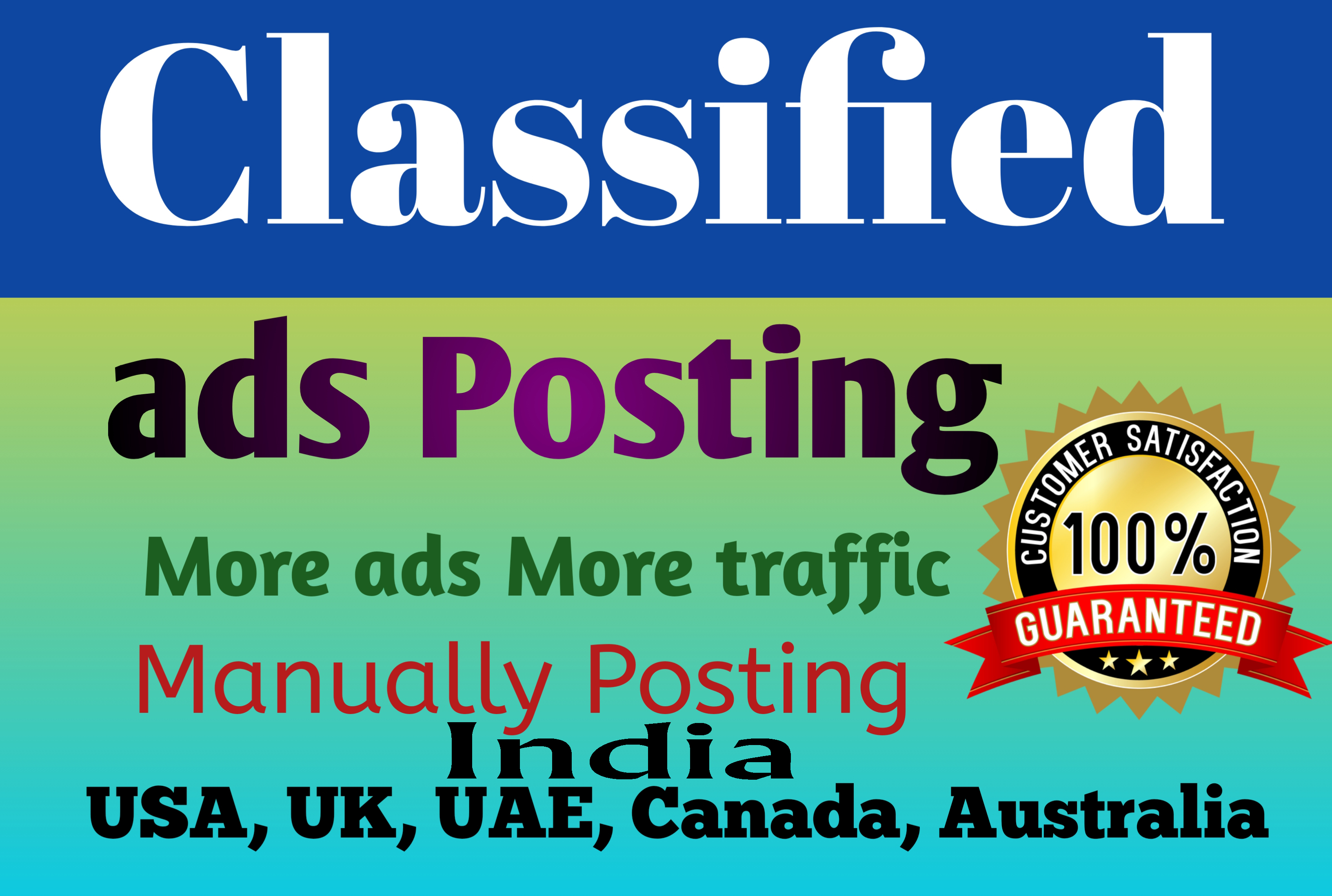 Provide 20 Classified ads Posting manually Backlinks increase your website ranking