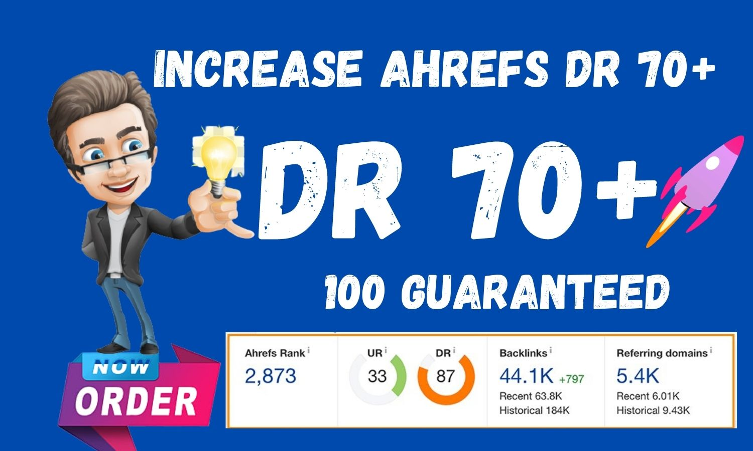 I will increase Ahrefs Domain Authority DR 70 Plus fast 21 days
