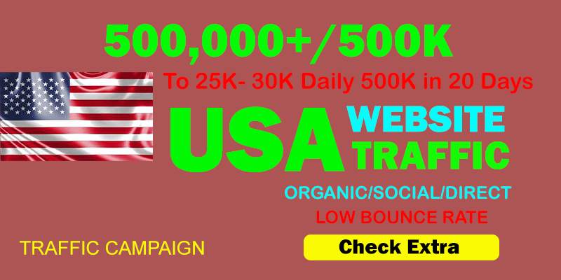 500,000 USA TARGETED Organic Web Traffic to your website within 20 days.