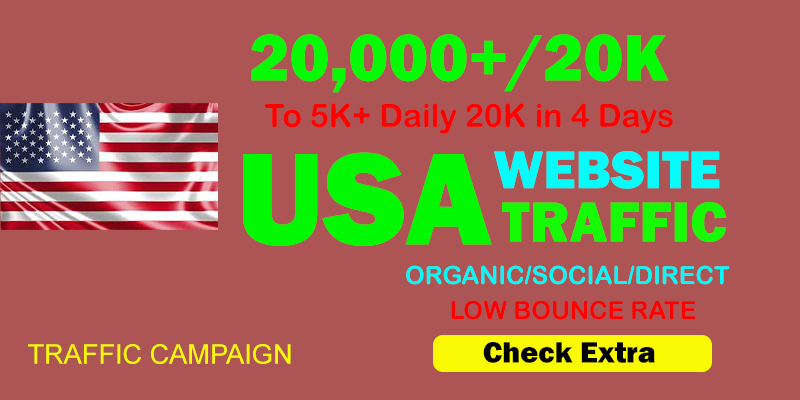 20,000+ USA TARGETED Organic Web Traffic to your website within 4 Days.