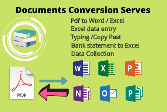 I will Convert your documents Pdf to Word,  Excel,  CSV etc.
