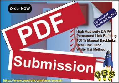 20 PDF Submission High Authority PA DA Manual BackLinks White Hat Rank Site upper