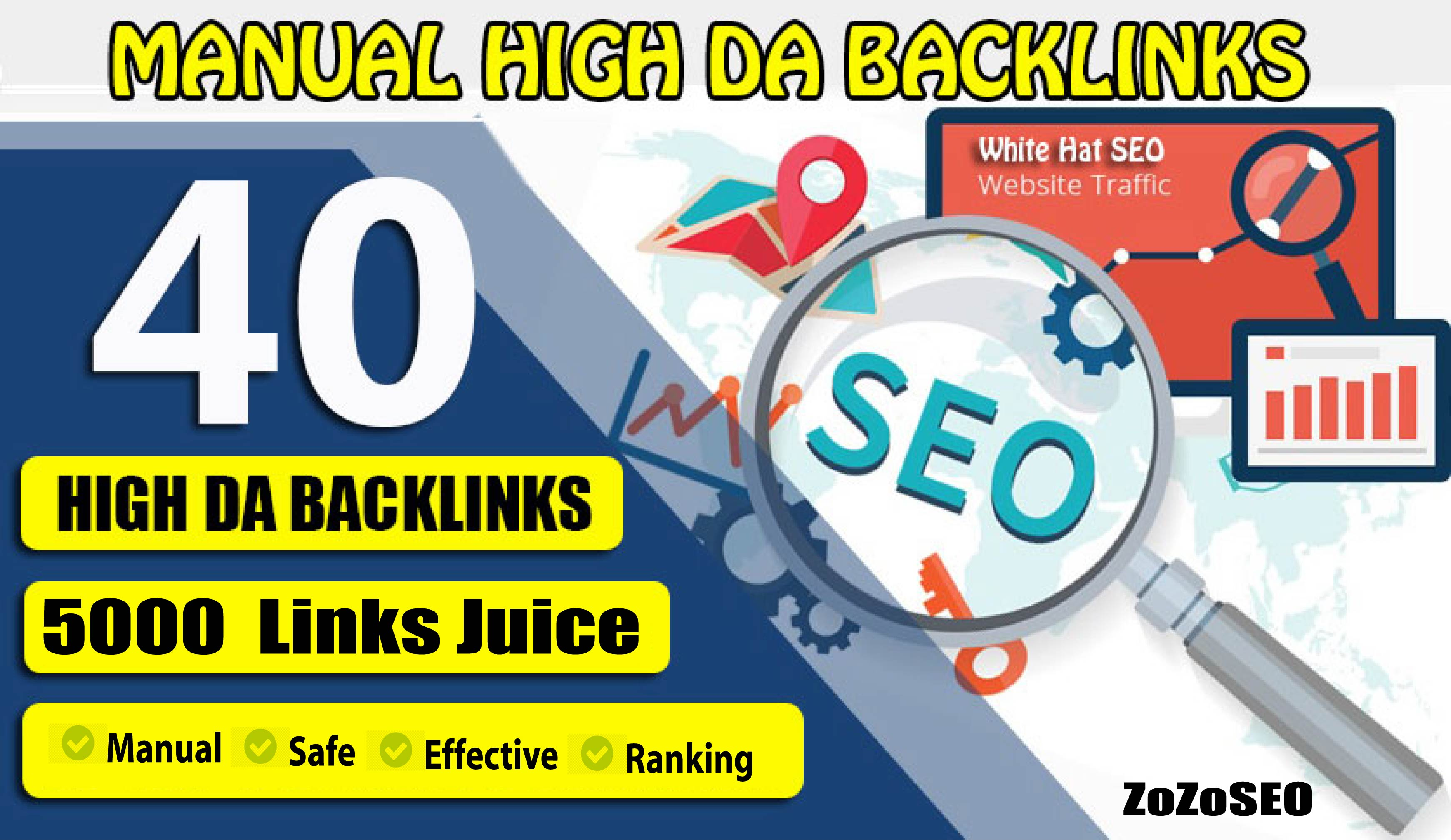 Create 40 Backlinks DA 100 Backlinks with 5000 Easy Link Juice And Blast
