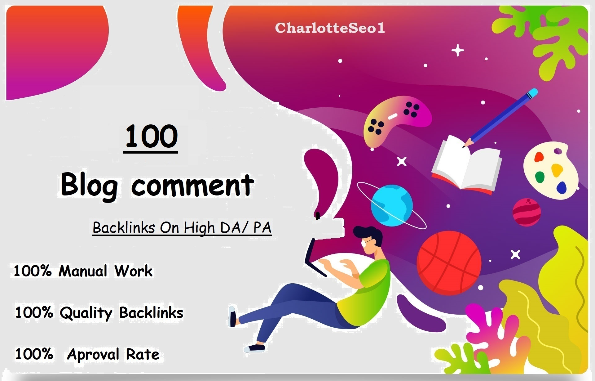I will Do Manually 100 Unique Domain Blog comments Backlinks on HIGH DA,  PA