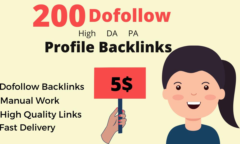 I will do 200 High-DA profile backlinks manually links