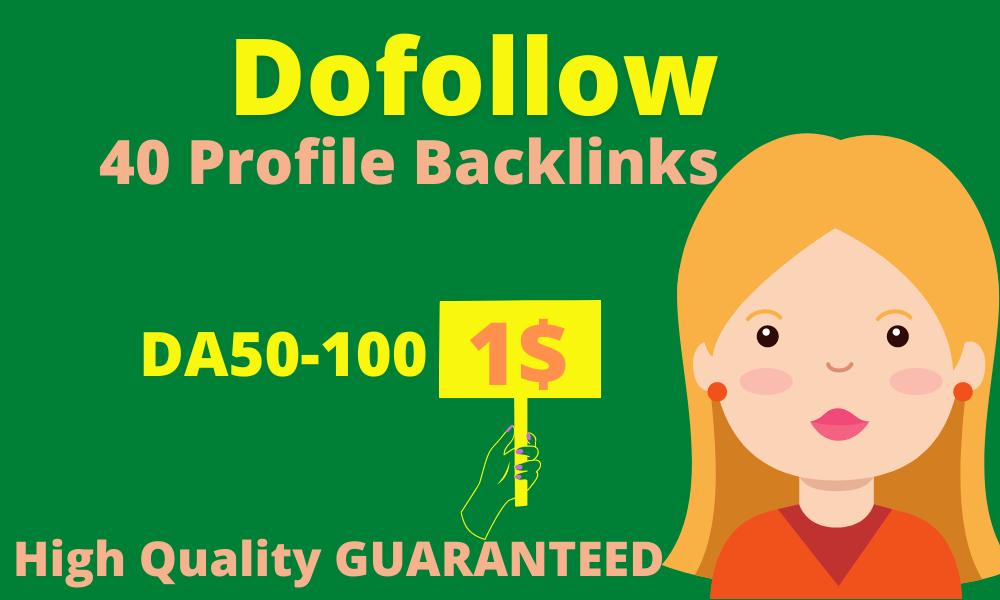 I will do create manually 40 High DA 80+ Dofollow Profile Backlinks