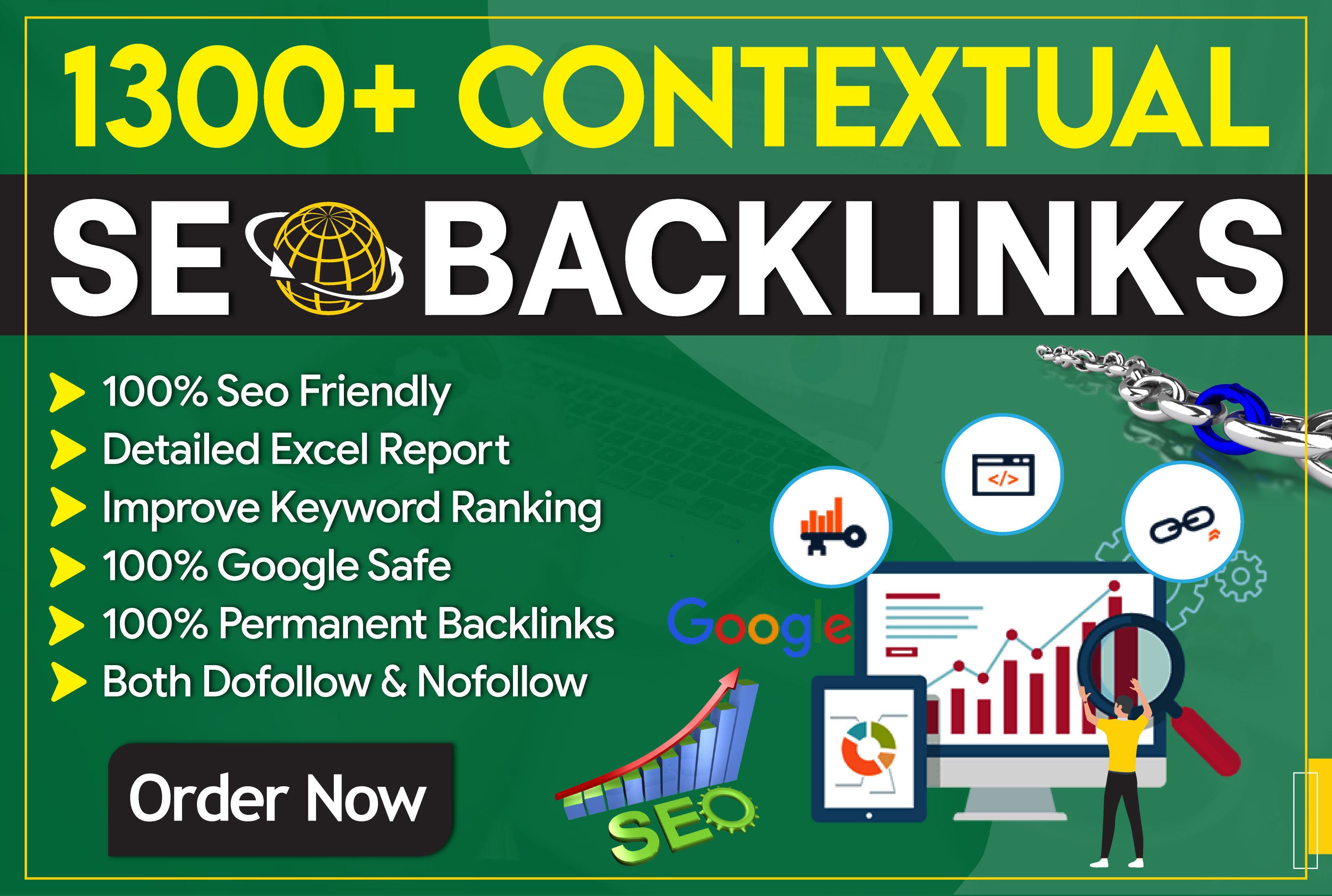 Build 1300 manual contextual dofollow backlinks service in SEO