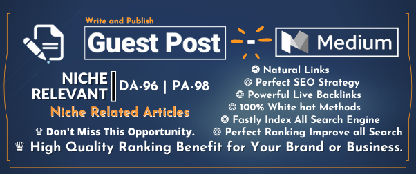 Firstly Indexable Guest post on Medium. com DA 95,  PA 81 with High authority Permanent Backlinks