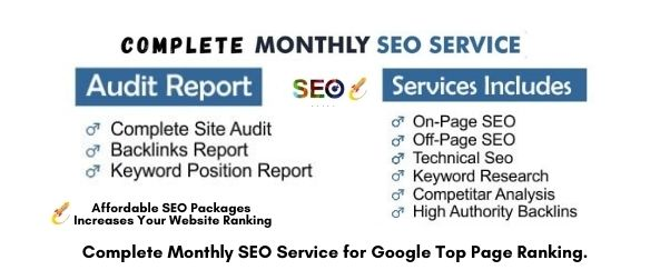 Ranking on 1st Page - Monthly SEO Service with HQ Authority Backlink - Affordable SEO Packages