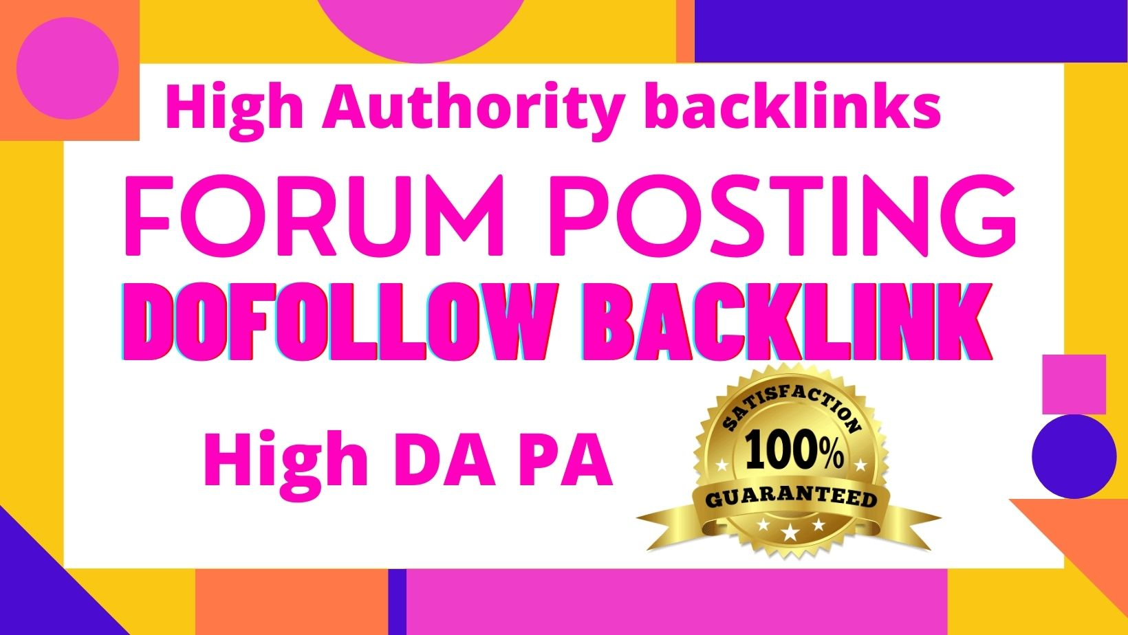 I Will Create 50 high authority forum posting backlinks