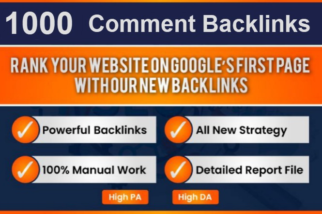 I Will provide 1000 High Quality Blog Comments on high DA sites to boost your ranking