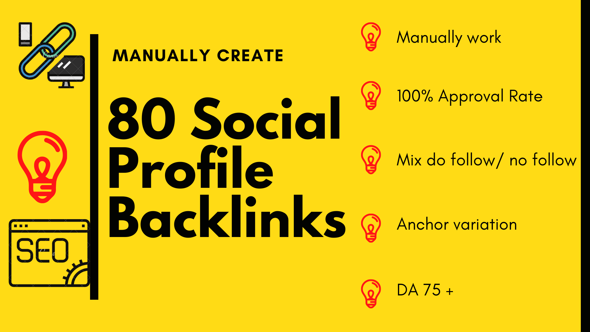 80 Manually created High Authority social Profile Backlinks.
