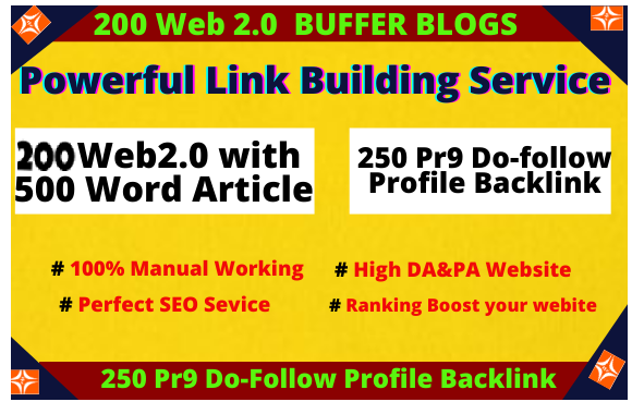 I will 200 Web 2.0 Niche Related Panda & Penguin Safe Backlinks High Quality