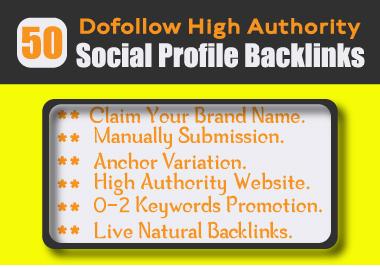 50 High Quality Social Profile Backlinks manually Creation-2021