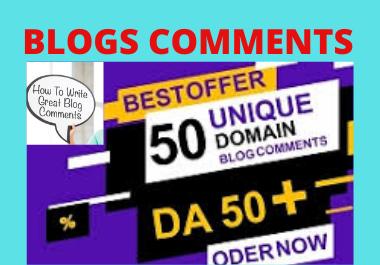 Manual live 50 Blog Comments backlinks High Authority Unique link building