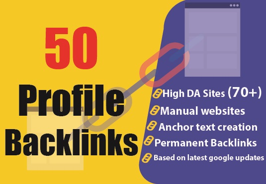 Grow with 50 manually created high domain authority profile backlinks