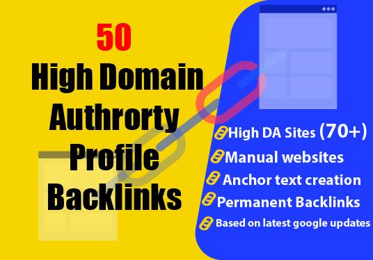 Grow with 50 manually created high domain authority profile backlinks