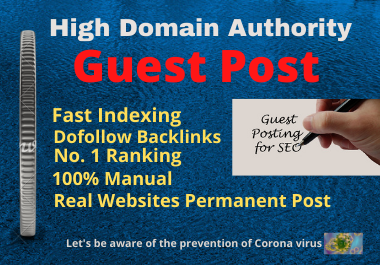 Write and Publish High Authority website 10 Guest Posts unique article on the permanent backlinks