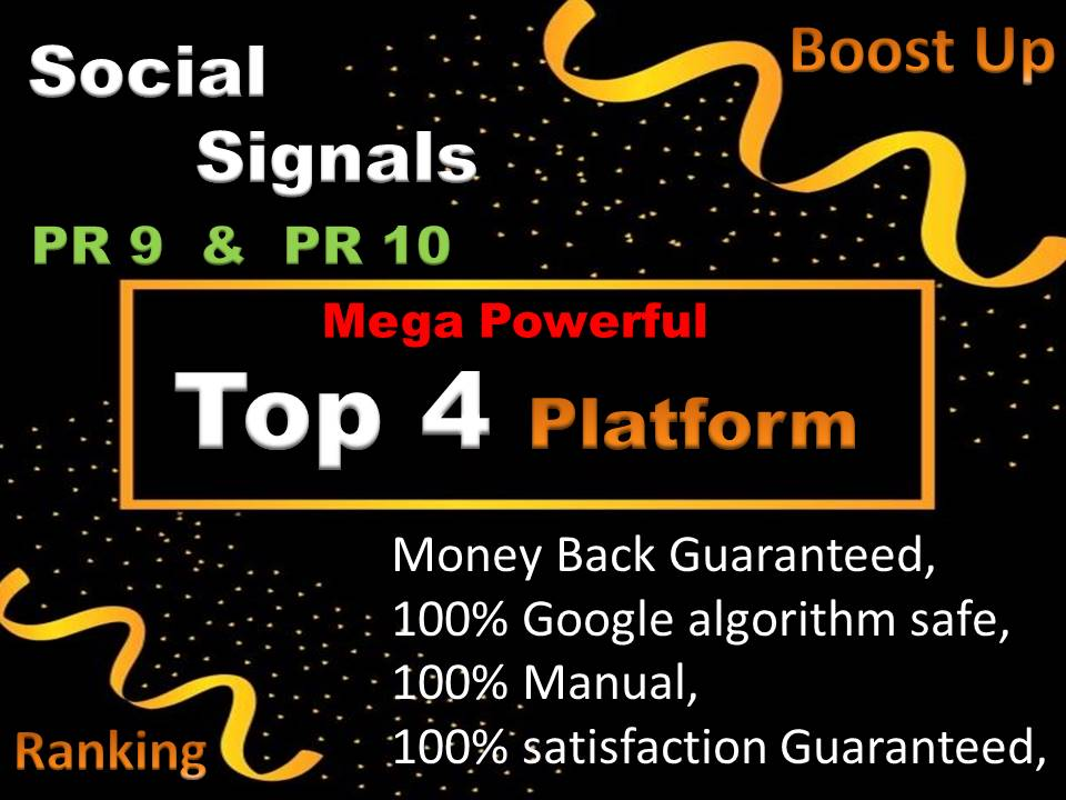Mixed Top 4 Social Network 2702 Social Signals H-Q PR9-PR10 Backlink, pinterest, weblike, tumblr, reddit
