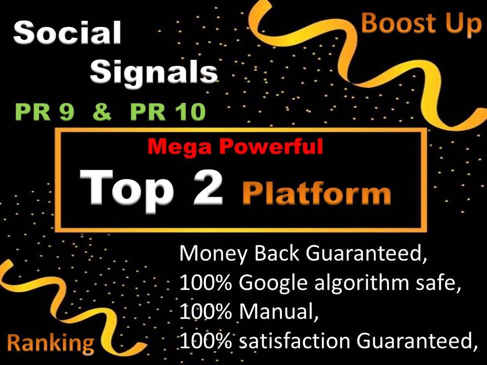 Mixed Top 2 Social Network 5000 Social Signals H-Q PR10 Backlink Pinterest,  WebShare To Your Website