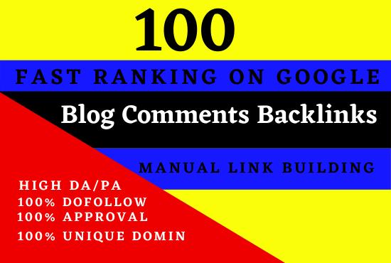 I will create 100 unique domain blog comments with high da pa