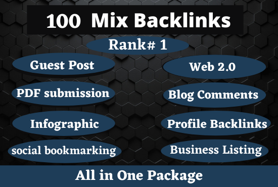 100 Mixed Backlinks High Authority Permanent DoFollow links,  boost your website Rank 1