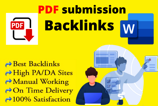 PDF Submission 20 High authority website low spam score permanent Dofollow backlinks