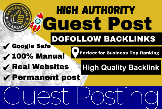 Write and publish 20 Guest Post 20 different websites DA 80+ With Do-Follow Permanent Backlinks