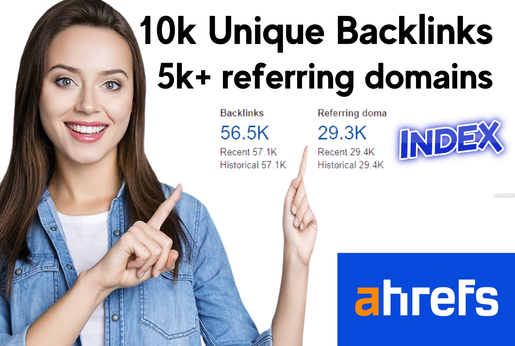 I will manually build 10k unique backlinks plus 5k referring domains on ahref with indexing