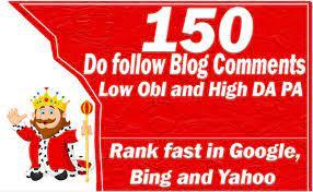 I will provide 150 Manual Dofollow Blogcomment high DA PA