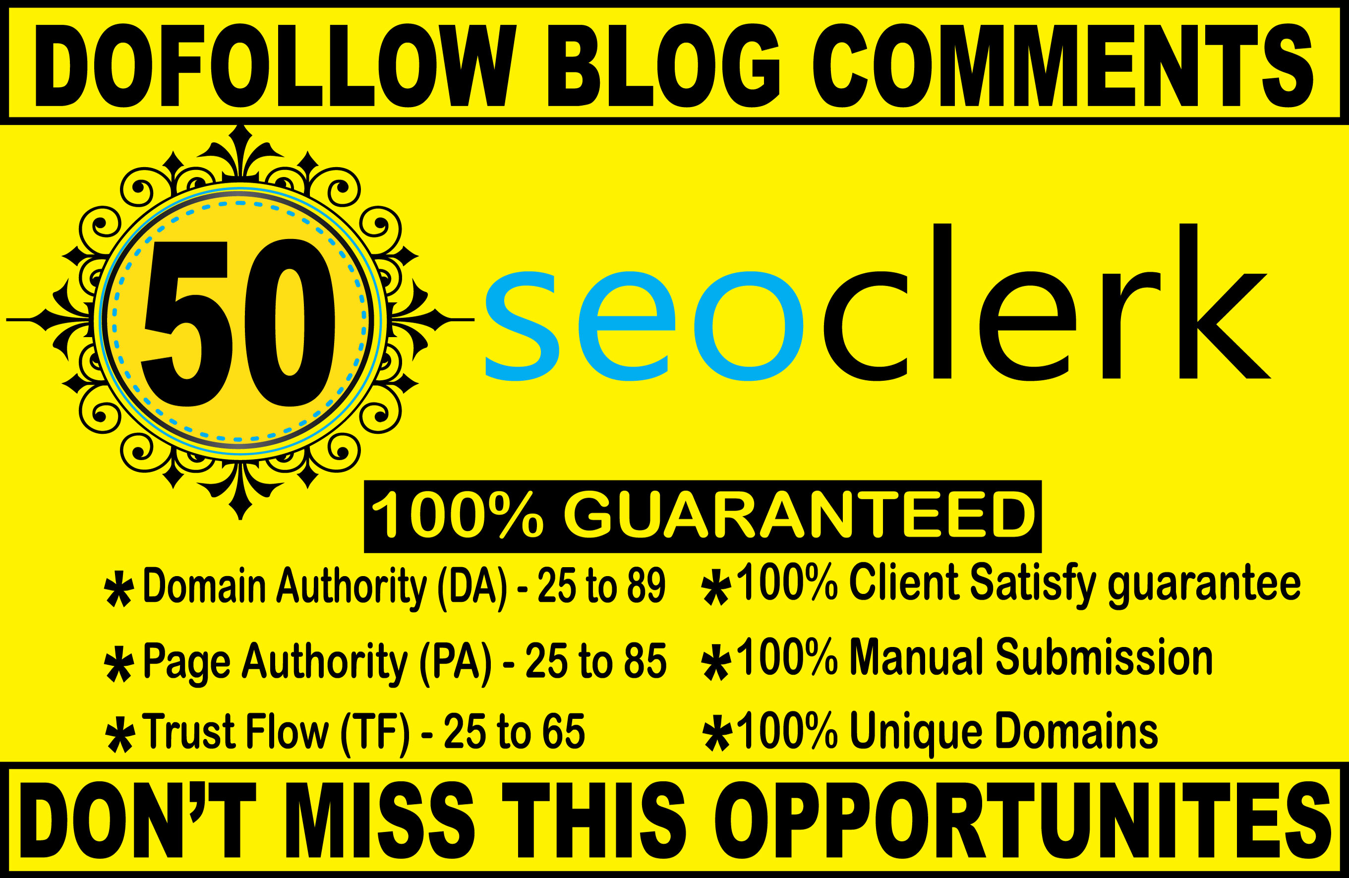 I will do 50 high quality dofollow blog comments backlinks on High Authority Blog