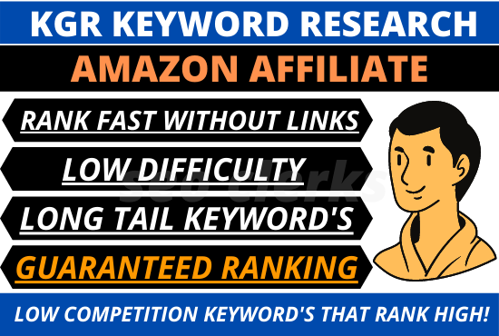 I will provide top rated kgr keyword research for amazon affiliate niche site