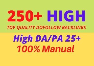 I will create manually 250 high authority SEO dofollow backlinks