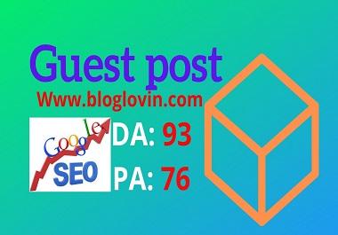 I will publish a guest post on bloglovin. com