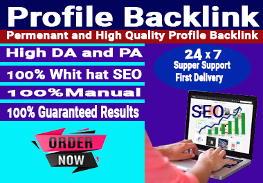 I Will Create 70 Manual & High-quality Profile Backlinks to Rank your website.