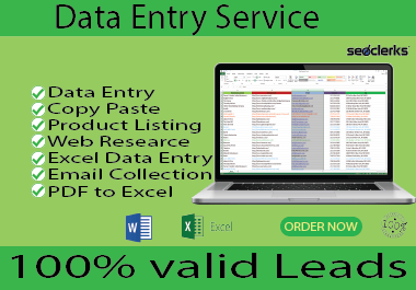 I Will do data entry,  email collection,  web scraping,  data collection