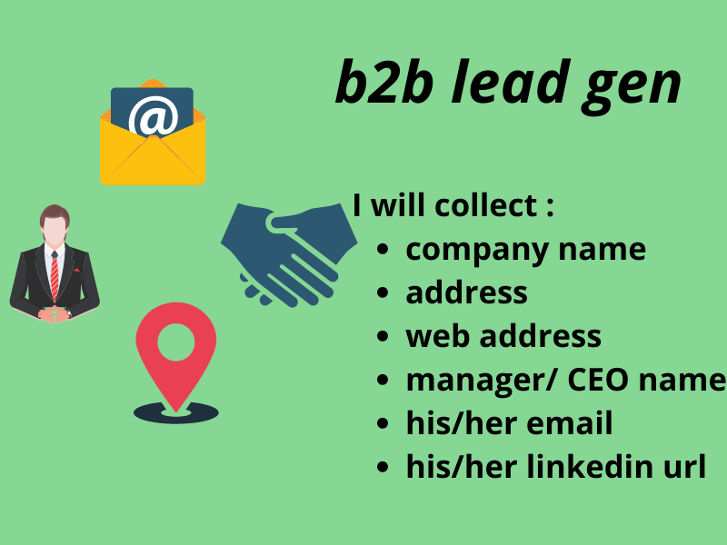 I will collect 50 leads in 2 days name,  address,  website,  manager/ceo name,  email,  linkedin url