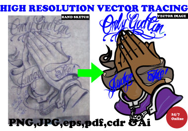 I will redraw,  vectorize logo, image, drawing in high resolution