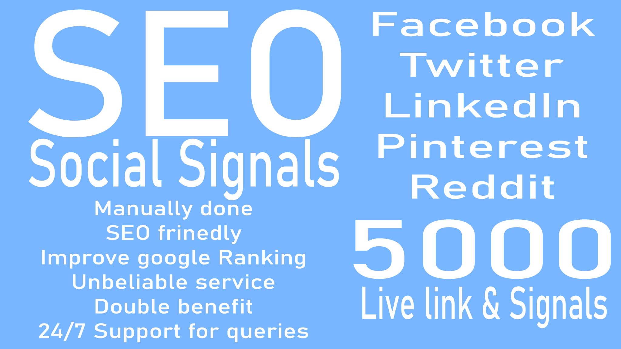 do 5000 Social Signals live link and signals to change your Google Ranking guaranteedly