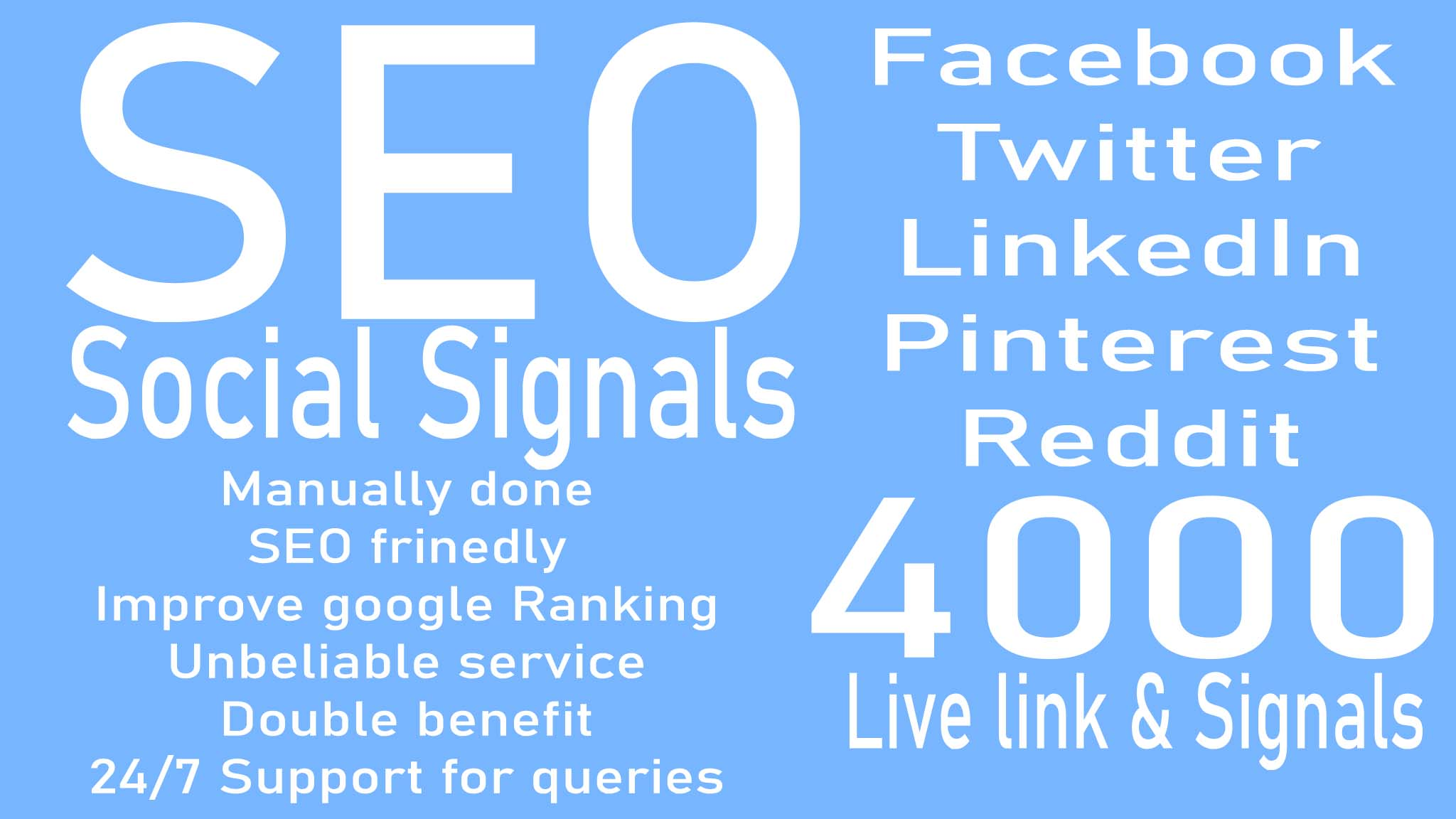 do 4000 Social Signals live link and signals to change your Google Ranking guaranteedly