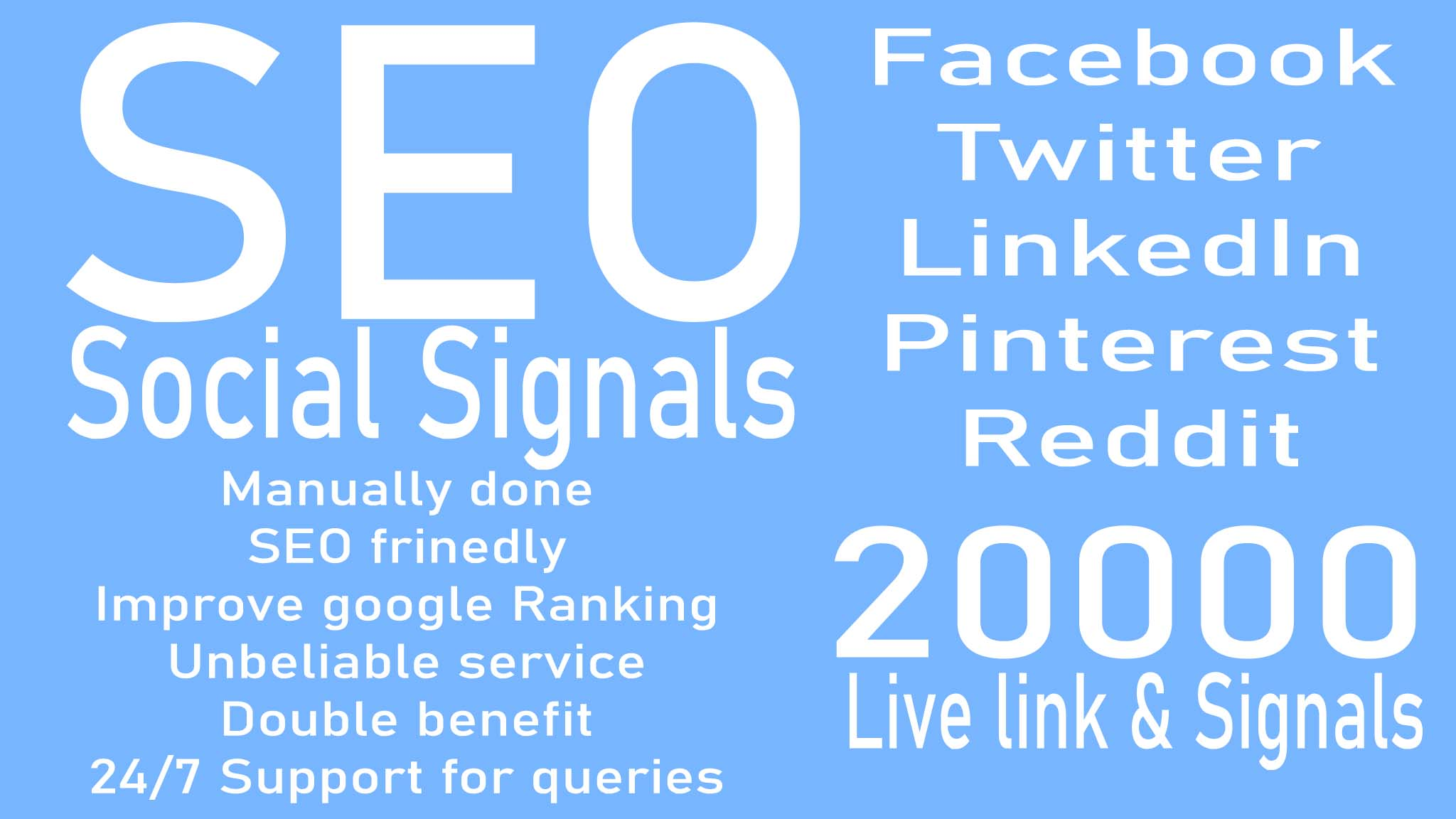 make 20000 Social Signals for website SEO optimization service for google top ranking